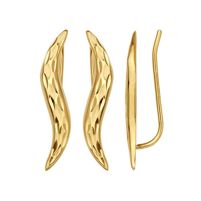 14K Yellow Gold Diamond-Cut Wave Ear-Climber Earrings