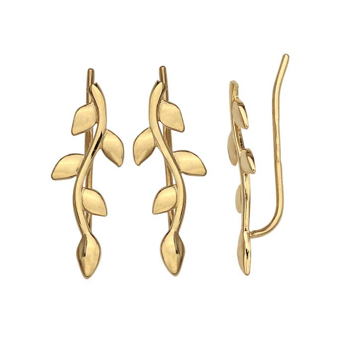 14K Yellow Gold Branched Leaves Ear-Climber Earrings