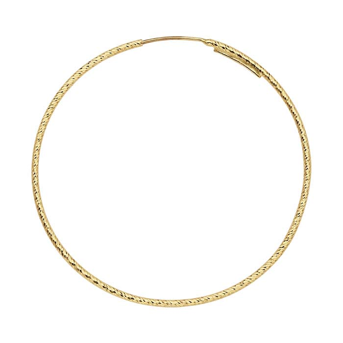 14K Yellow Gold Sparkle Endless Hoop Earrings