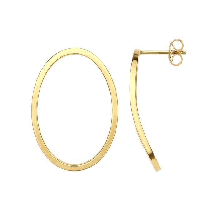 14K Yellow Gold Hollow Open Oval Post Earrings