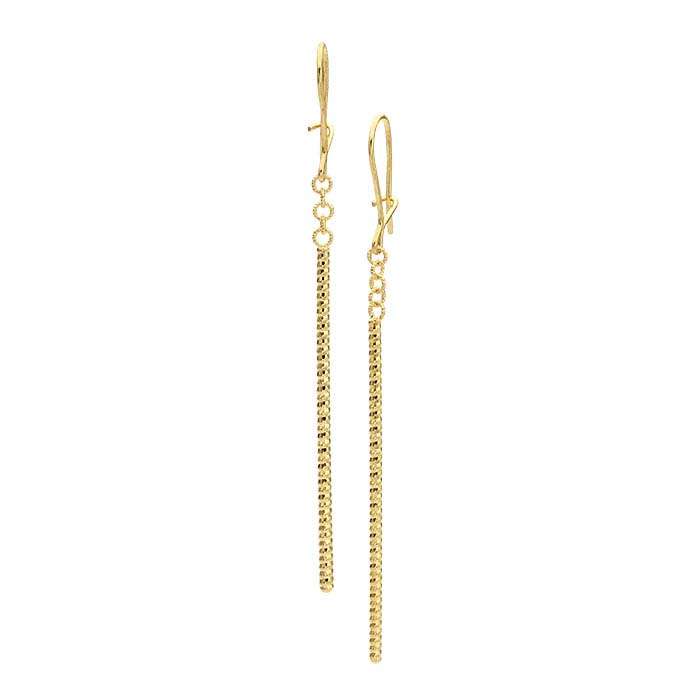 14K Yellow Gold Diamond-Cut Bar Drop Earrings
