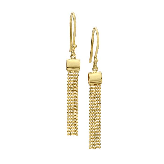 14K Yellow Gold Diamond-Cut Bead-Chain Flat Tassel Earrings