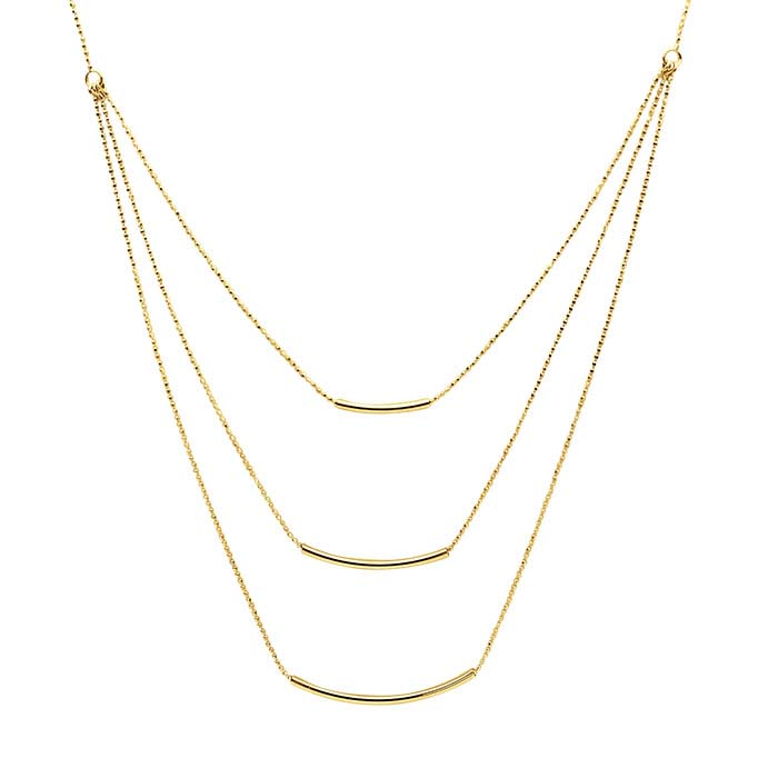 14K Yellow Gold Necklace with Tube Bead Accents