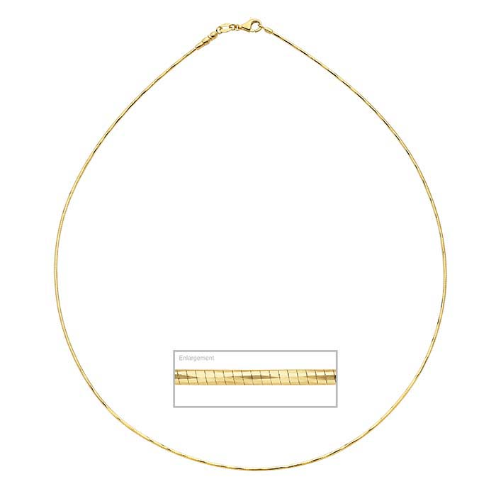 14K Yellow Gold 1mm Diamond-Cut Omega Neck Chains with Threaded End