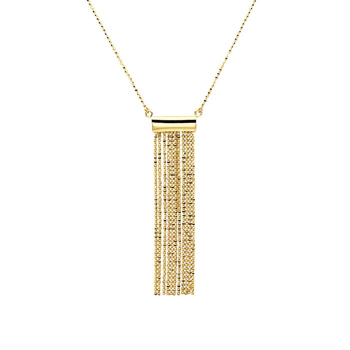 14K Yellow Gold Festoon Necklace with Flat Tassel