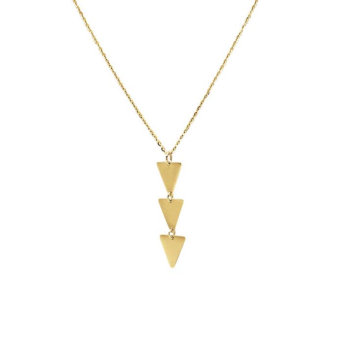 14K Yellow Gold Triple-Triangle Drop Necklace