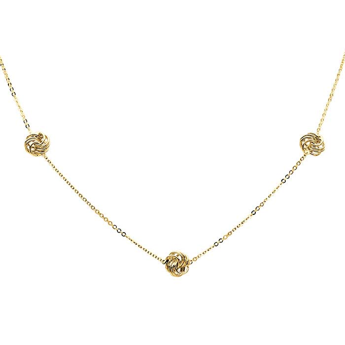 14K Yellow Gold Tin-Cup Necklace with Open Knots