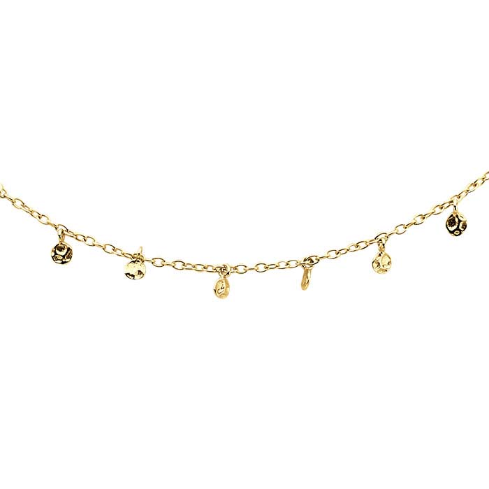 14K Yellow Gold Necklace with Hammered Drops