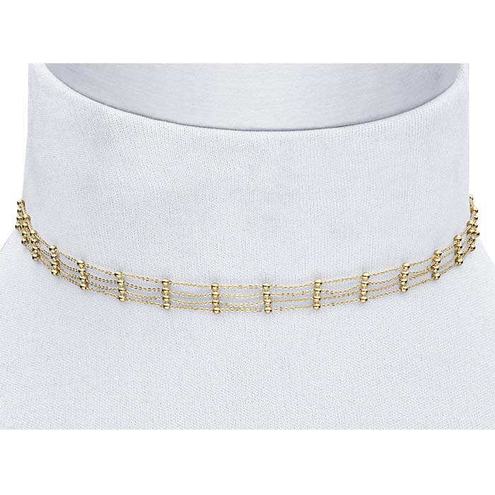 14K Yellow Gold Four-Row Tin-Cup Choker Necklace