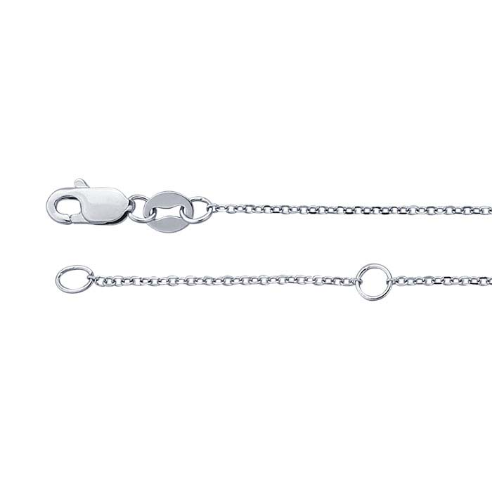14K White Gold 0.9mm Beveled Oval Cable Chain, Adjustable