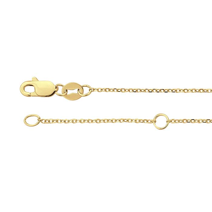 14K Yellow Gold 0.9mm Beveled Oval Cable Chain, Adjustable