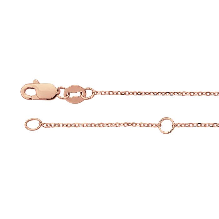 14K Rose Gold 0.9mm Beveled Oval Cable Chain, Adjustable