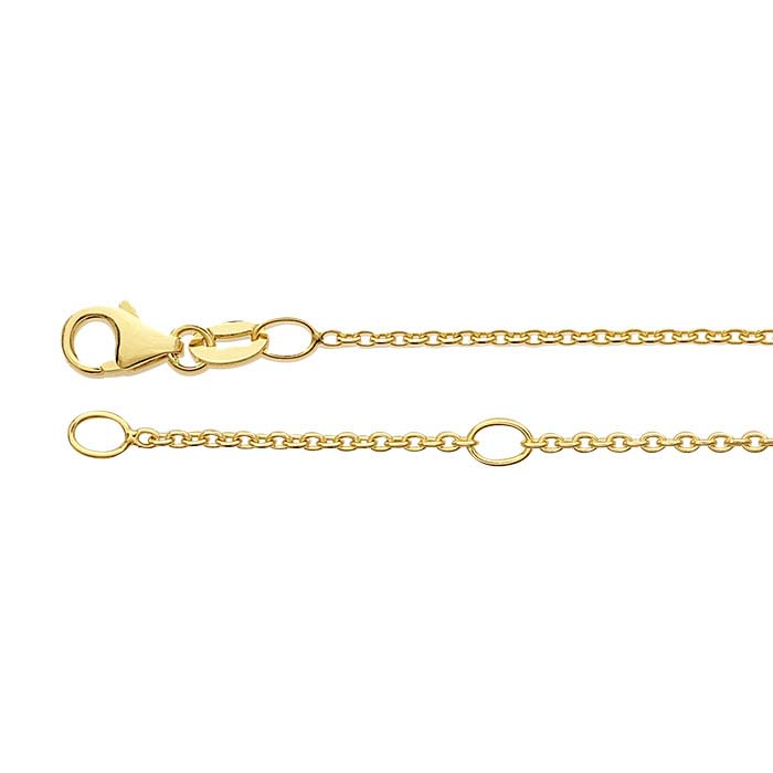 14K Yellow Gold 1.1mm Oval Cable Chain, Adjustable