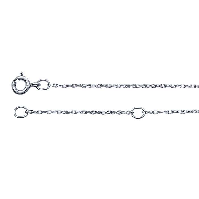 14K White Gold 0.7mm Rope Chain, Adjustable