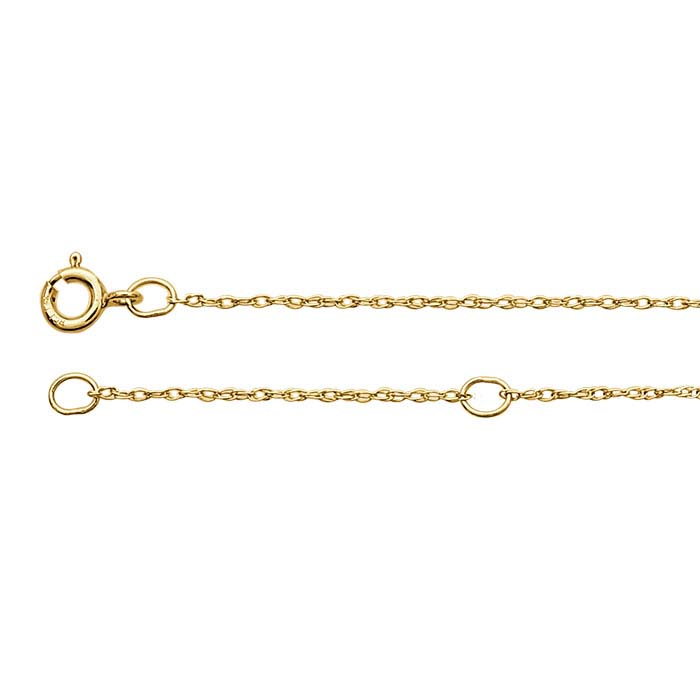 14K Yellow Gold 0.7mm Rope Chain, Adjustable