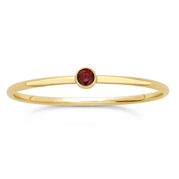 14/20 Yellow Gold-Filled Dark-Red CZ-Set Rings
