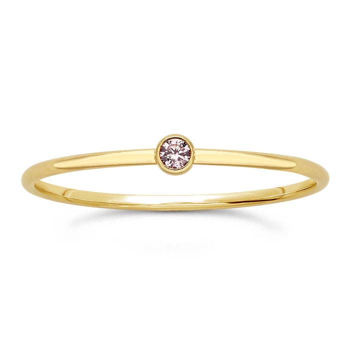 14/20 Yellow Gold-Filled Pink CZ-Set Rings