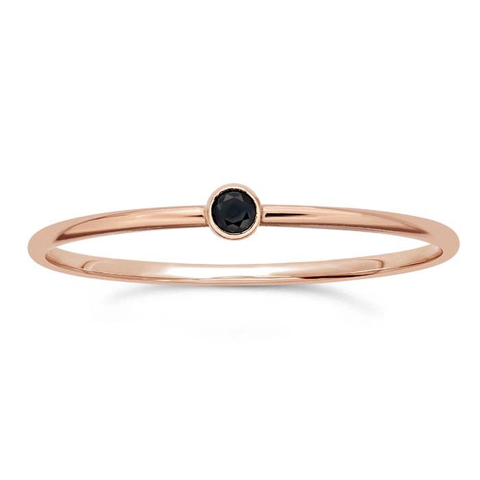 14/20 Rose Gold-Filled Black CZ-Set Rings