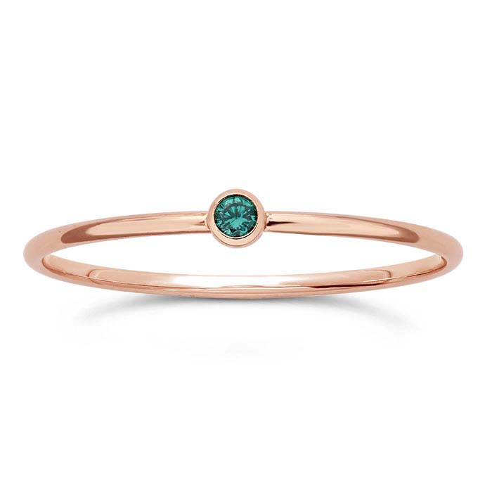 14/20 Rose Gold-Filled Green CZ-Set Rings