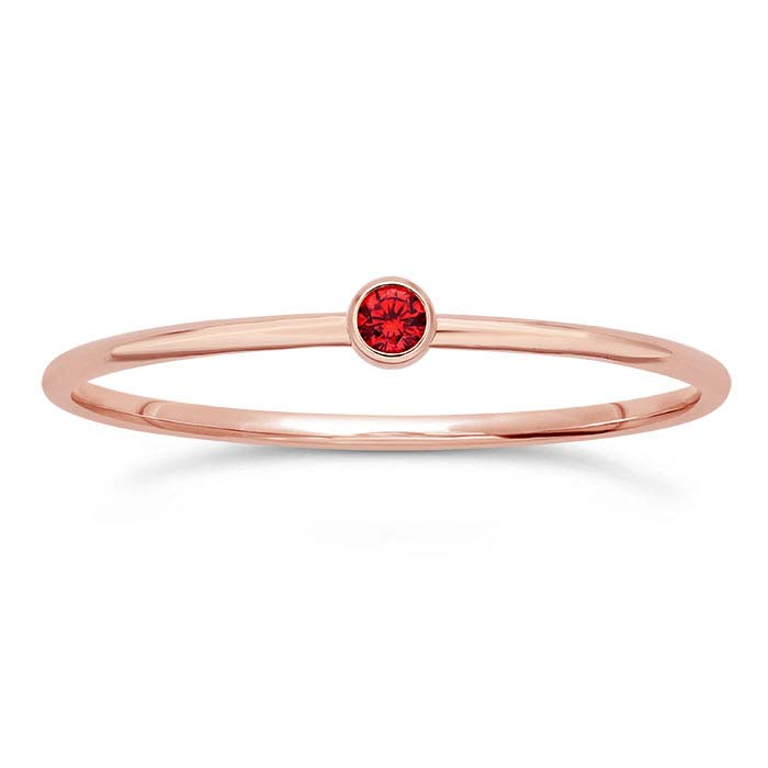 14/20 Rose Gold-Filled Red CZ-Set Rings