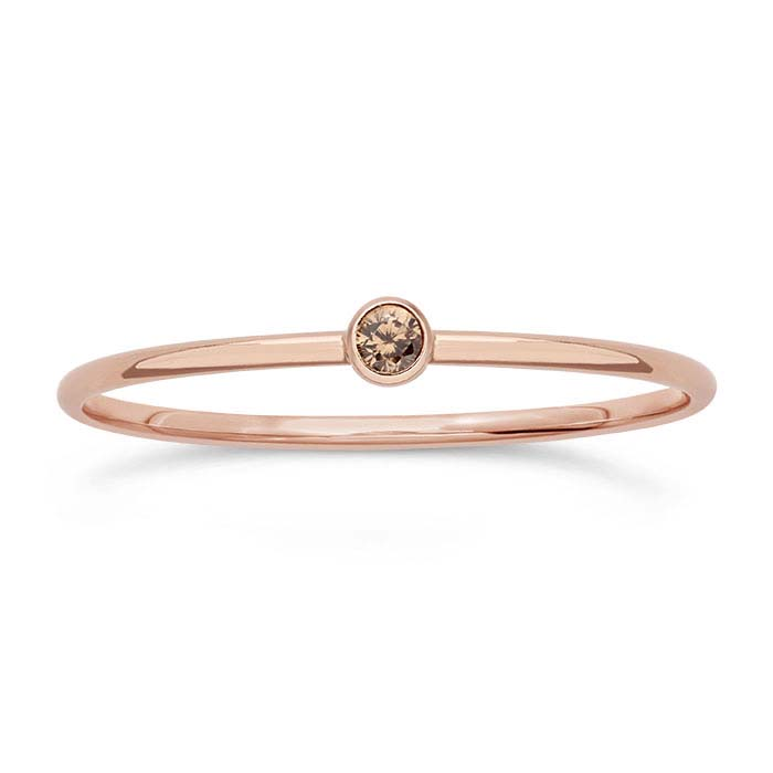 14/20 Rose Gold-Filled Champagne CZ-Set Rings