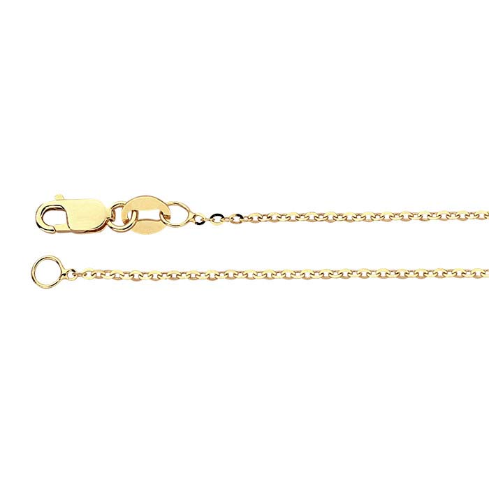 14K Yellow Gold Beveled Flat Oval Cable Chains