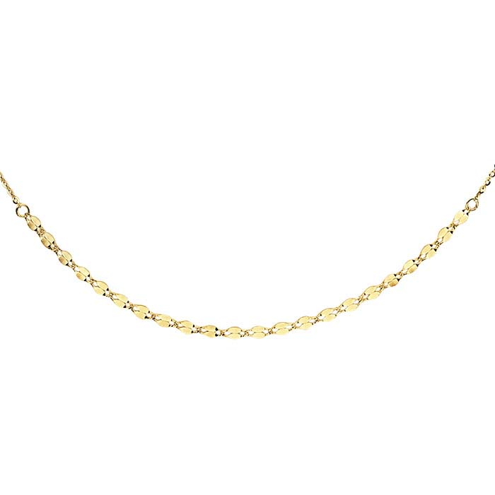 14K Yellow Gold Dapped Links Choker-Style Necklace