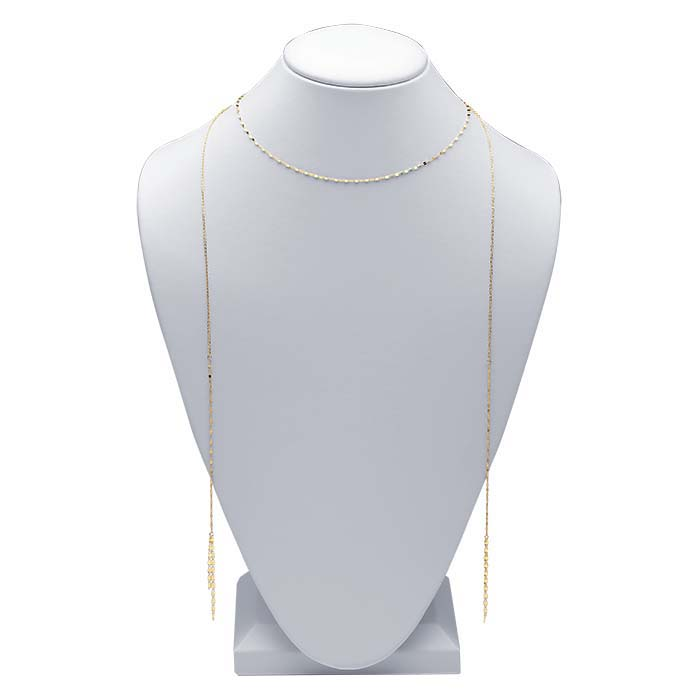 14K Yellow Gold Dapped Link Choker-Style Necklace with Long Tassels