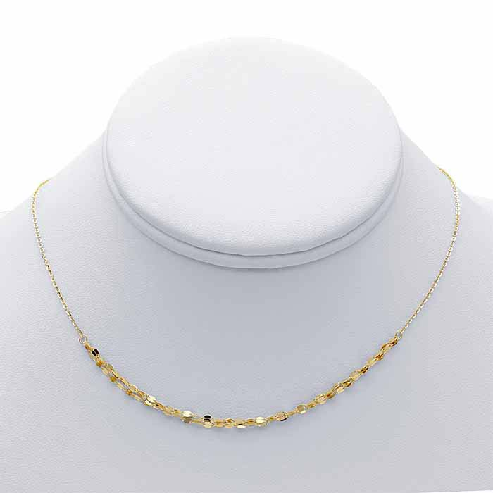 14K Yellow Gold Triple-Strand Dapped Links Choker-Style Necklace
