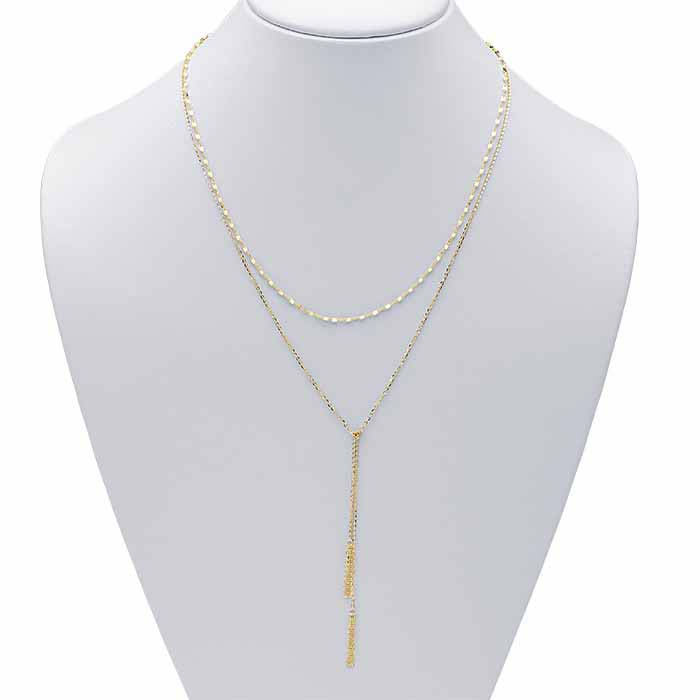 14K Yellow Gold Layered Y-Style Necklace with Tassels