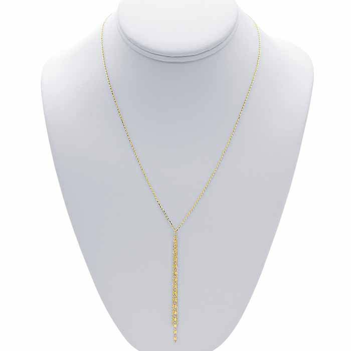 14K Yellow Gold Diamond-Cut Cable Chain Y-Style Necklace with Tassel