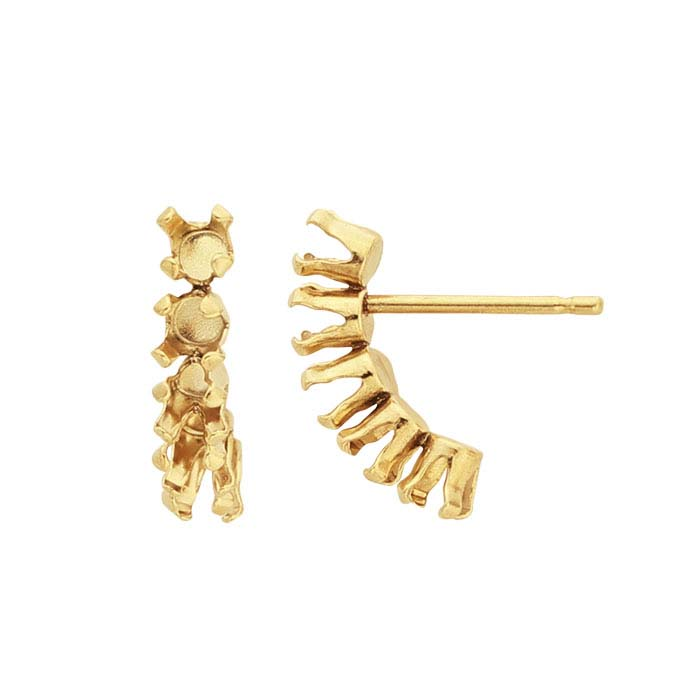 14/20 Yellow Gold-Filled 3mm Round Snap-Set™ Earring Mounting
