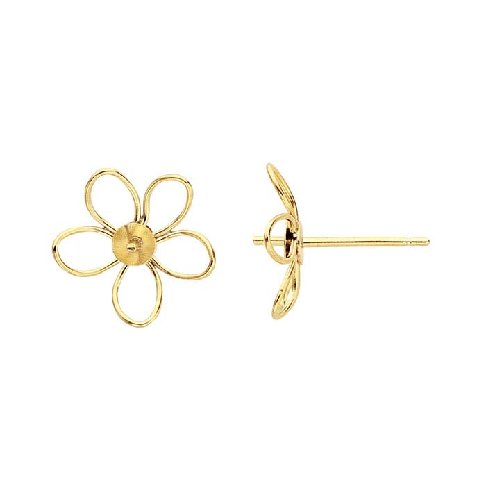 14/20 Yellow Gold-Filled Open Flower Pearl Post Earring Mounting