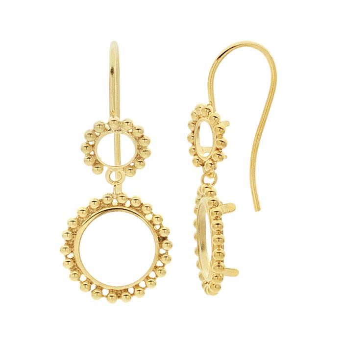14/20 Yellow Gold-Filled Round Back-Set Beaded Ear Wire Mounting