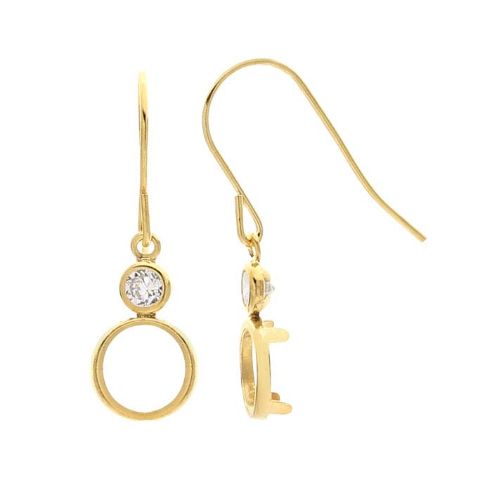 14/20 Yellow Gold-Filled CZ-Set 6mm Round Back-Set Ear Wire Mounting