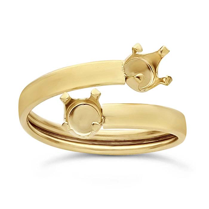 14/20 Yellow Gold-Filled 6mm Round Bypass Ring Mountings, Adjustable