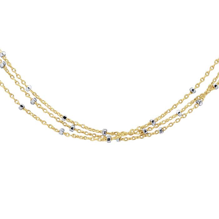 14/20 Yellow Gold-Filled 3-Strand Tin-Cup Cable Chain Necklace