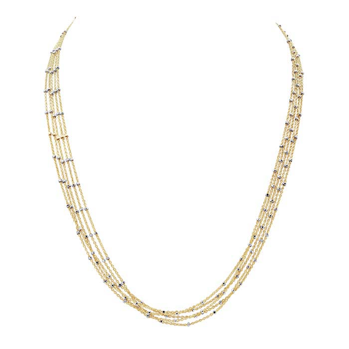 14/20 Yellow Gold-Filled 5-Strand Tin-Cup Cable Chain Necklace