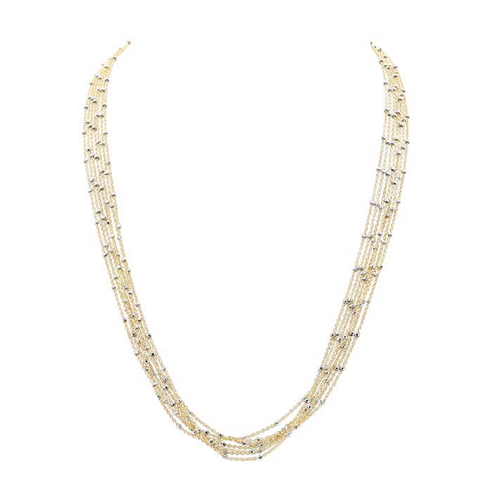 14/20 Yellow Gold-Filled 7-Strand Tin-Cup Cable Chain Necklace
