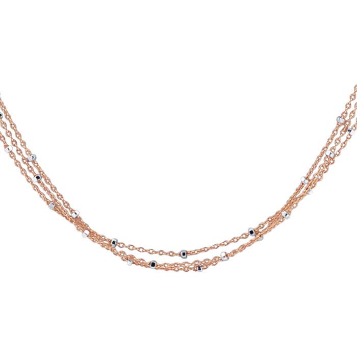 14/20 Rose Gold-Filled 3-Strand Tin-Cup Cable Chain Necklace
