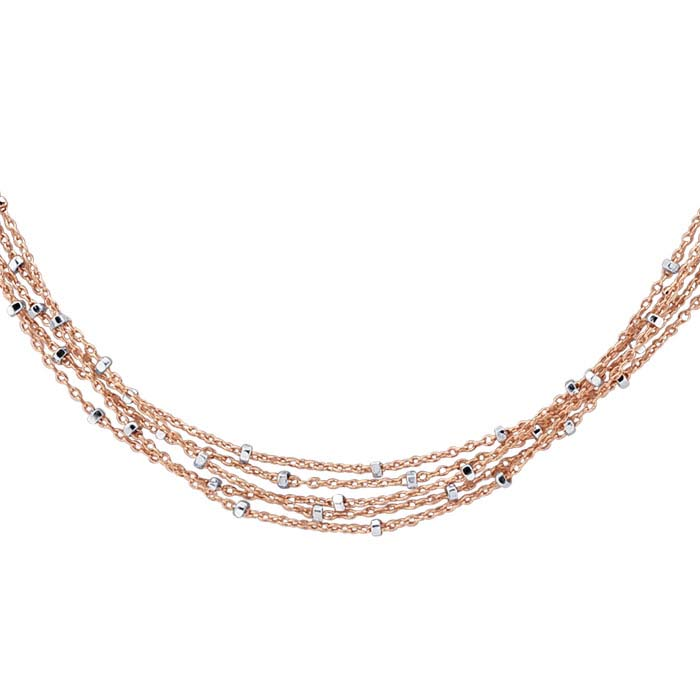 14/20 Rose Gold-Filled 5-Strand Tin-Cup Cable Chain Necklace