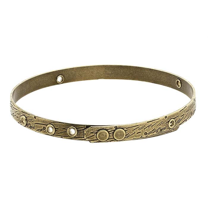 Brass Textured Bangle Bracelet