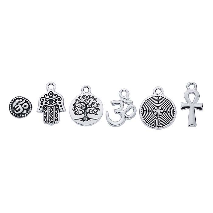 Britannia Pewter Antique Silver-Plated 6-Piece Spiritual Charm Assortment