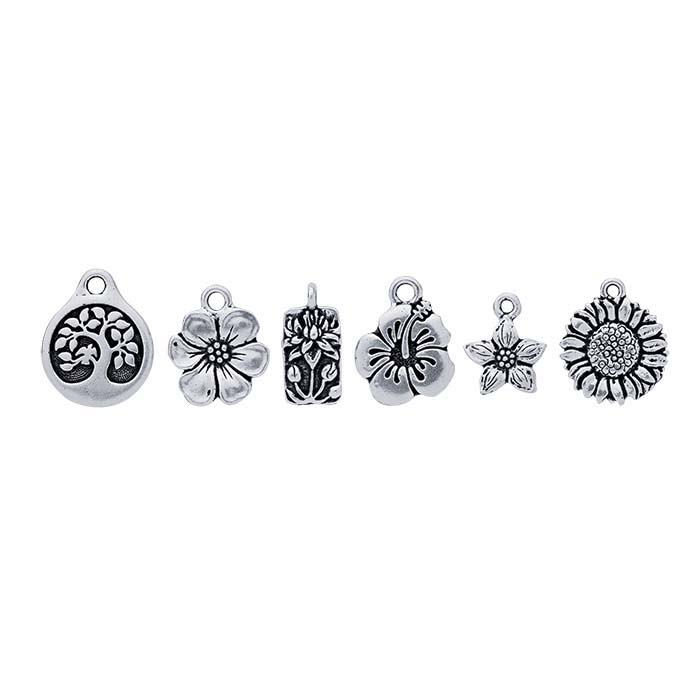 Britannia Pewter Antique Silver-Plated 6-Piece Flowers Charm Assortment