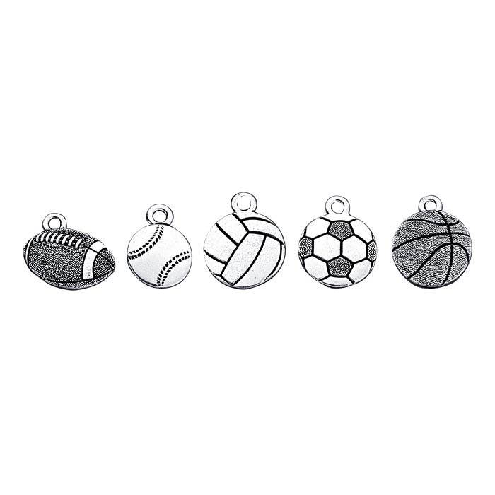 Britannia Pewter Antique Silver-Plated 5-Piece Sports Charm Assortment