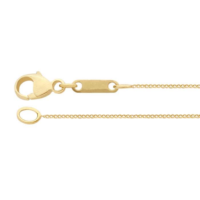 14K Yellow Gold 0.6mm Extra-Fine Diamond-Cut Curb Chains