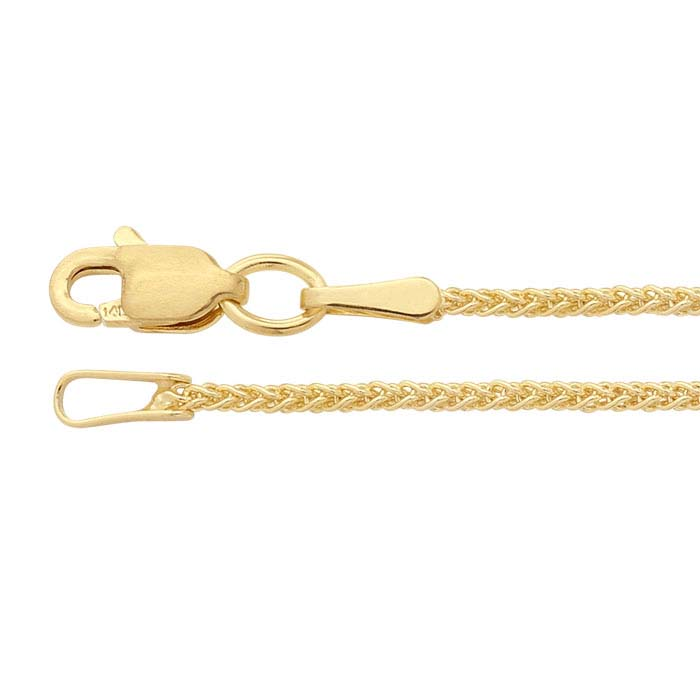 14K Yellow Gold 1.2mm Wheat Chain