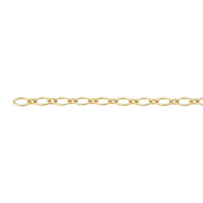 14K Yellow Gold 2.1mm Oval Long & Short Chain, By the Inch