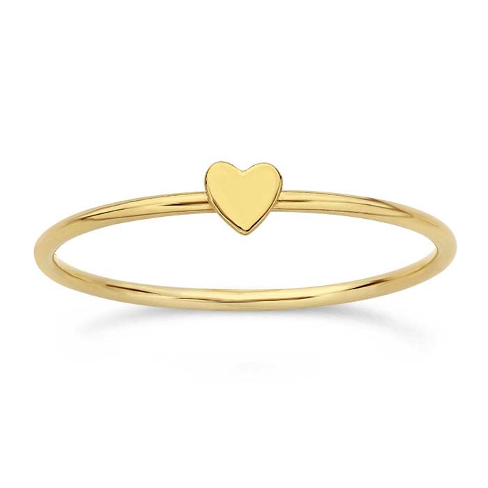 14/20 Yellow Gold-Filled Heart Stackable Rings