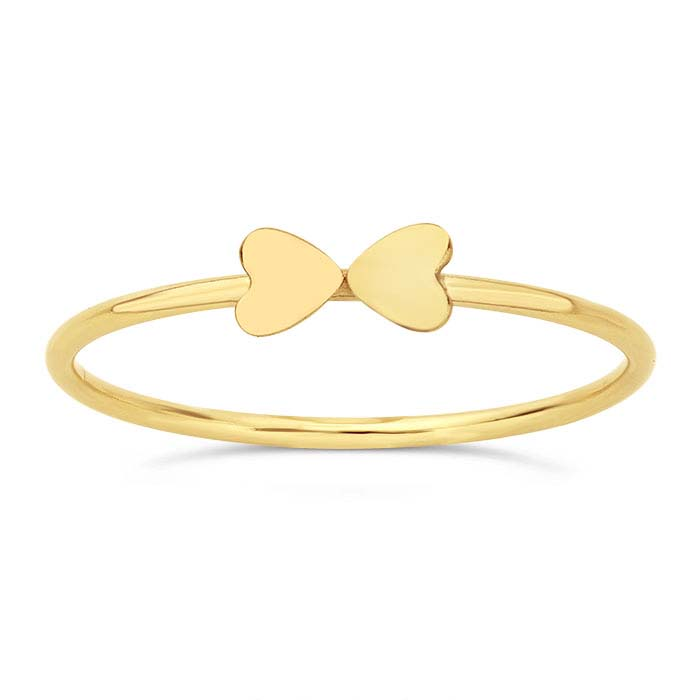 14/20 Yellow Gold-Filled Double-Heart Stackable Rings